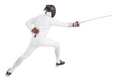 Hombre que lleva cercando el traje que practica con la espada Imágenes de archivo libres de regalías