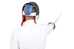 Hombre que lleva cercando el traje que practica con la espada Fotos de archivo libres de regalías