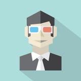 Hombre que lleva el icono de los vidrios 3D libre illustration