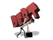 Hombre que lucha con deuda grande Imagen de archivo libre de regalías