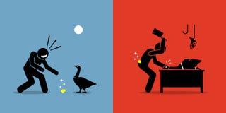 Hombre que mata a un ganso de oro con un huevo del oro stock de ilustración