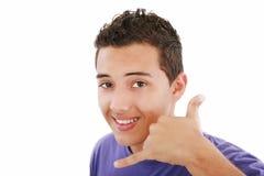 Hombre que me hace una llamada gesto Foto de archivo libre de regalías