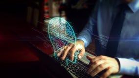 Hombre que mecanografía en el teclado con el holograma de la inteligencia artificial metrajes