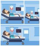 Hombre que miente en cama de hospital Fotos de archivo