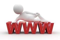 Hombre que miente en World Wide Web ilustración del vector