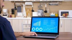 Hombre que mira cartas financieras animadas y datos la tabla almacen de metraje de vídeo