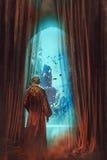 Hombre que mira el mundo subacuático a través de ventana Imágenes de archivo libres de regalías
