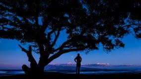 Hombre que mira el océano imagenes de archivo