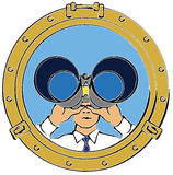 Hombre que mira a través de los prismáticos Imagen de archivo libre de regalías