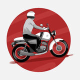 Hombre que monta la motocicleta clásica stock de ilustración