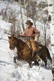 Hombre que monta un caballo la nieve Fotos de archivo libres de regalías