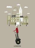 Hombre que monta un segway. Londres. ilustración del vector