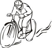 Hombre que monta una bicicleta libre illustration