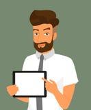 Hombre que muestra algo exhibido en la PC de la tableta Fotos de archivo libres de regalías