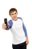 Hombre que muestra el móvil Fotografía de archivo