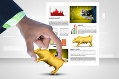 Hombre que muestra el toro del mercado de acción Imagen de archivo libre de regalías