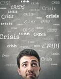Hombre que piensa en la crisis Fotografía de archivo libre de regalías