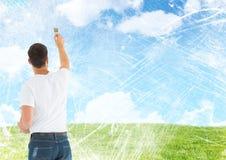 Hombre que pinta las nubes del cielo azul ilustración del vector