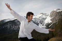 Hombre que practica artes marciales Imagen de archivo