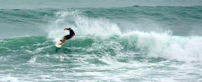 Hombre que practica surf en el parque regional Nueva Zelanda de Tawharanui Foto de archivo