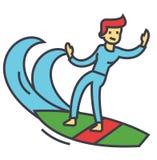 Hombre que practica surf, persona que practica surf con concepto de la tabla hawaiana Libre Illustration