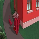 Hombre que recorre con el gato ilustración del vector