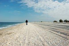 Hombre que recorre en la isla deshabitada Fotografía de archivo