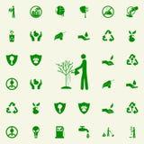 hombre que riega un icono del verde del árbol sistema universal de los iconos de Greenpeace para el web y el móvil ilustración del vector