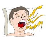Hombre que ronca ruidoso Imagen de archivo libre de regalías