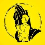 Hombre que ruega a dios, gráfico de la historieta del rezo libre illustration