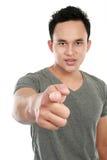 Hombre que señala el dedo en usted Fotos de archivo libres de regalías