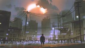 Hombre que se coloca en la ciudad inundada ilustración del vector