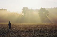 Hombre que se coloca en la niebla en la salida del sol Foto de archivo libre de regalías