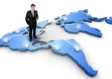 Hombre que se coloca en un mapa del mundo 3d ilustración del vector