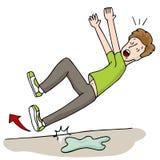 Hombre que se desliza en Foor mojado stock de ilustración