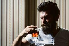 Hombre que se relaja y enjoing Retrato del bebedor brutal seguro de sí mismo del whisky del hombre Concepto del whisky, del brand foto de archivo