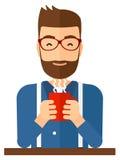 Hombre que se sienta con la taza de café stock de ilustración