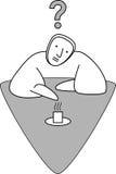 Hombre que se sienta en la tabla ilustración del vector
