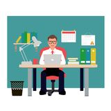 Hombre que se sienta en silla roja en oficina Hombre de negocios Vector Illustration imágenes de archivo libres de regalías