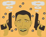 Hombre que sonríe después de tiroteo libre illustration