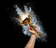 Hombre que soporta una taza del trofeo del oro fotos de archivo