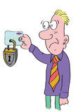 Hombre que sostiene de la tarjeta de crédito bloqueado Fotografía de archivo libre de regalías
