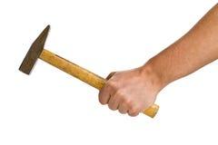 Hombre que sostiene el martillo aislado en blanco Imagen de archivo
