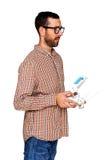 Hombre que sostiene el regulador del abejón Imagen de archivo