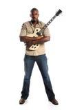 Hombre que sostiene la guitarra eléctrica Imagen de archivo