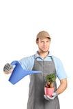 Hombre que sostiene la regadera y una planta Imagen de archivo libre de regalías