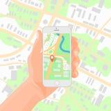 Hombre que sostiene smartphone disponible con el ejemplo móvil del vector del mapa de la navegación de los gps Fotografía de archivo