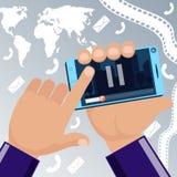 Hombre que sostiene smartphone película disponible y de observación stock de ilustración