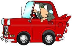 Hombre que sostiene un coche rojo libre illustration