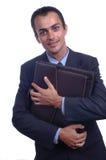 Hombre que sostiene una cartera Imagen de archivo libre de regalías